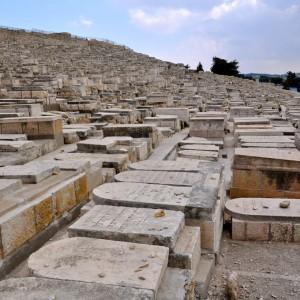 Masivul cimitir evreesc pe muntele maslinilor in valea lui Iosofat