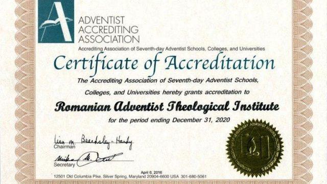 Institutul Teologic Adventist a primit acreditare pentru 5 ani din partea Asociației Adventiste de Acreditare
