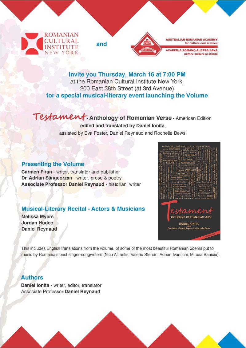 Lansarea și prezentarea volumului Testament – Anthology of Romanian Verse, ediția americană, New York, 16 Martie 2017