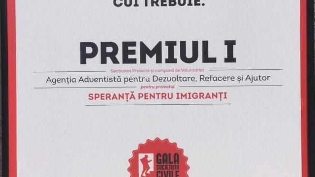 MOMENT ISTORIC: Locul 1 pentru ADRA România la Gala Societății Civile