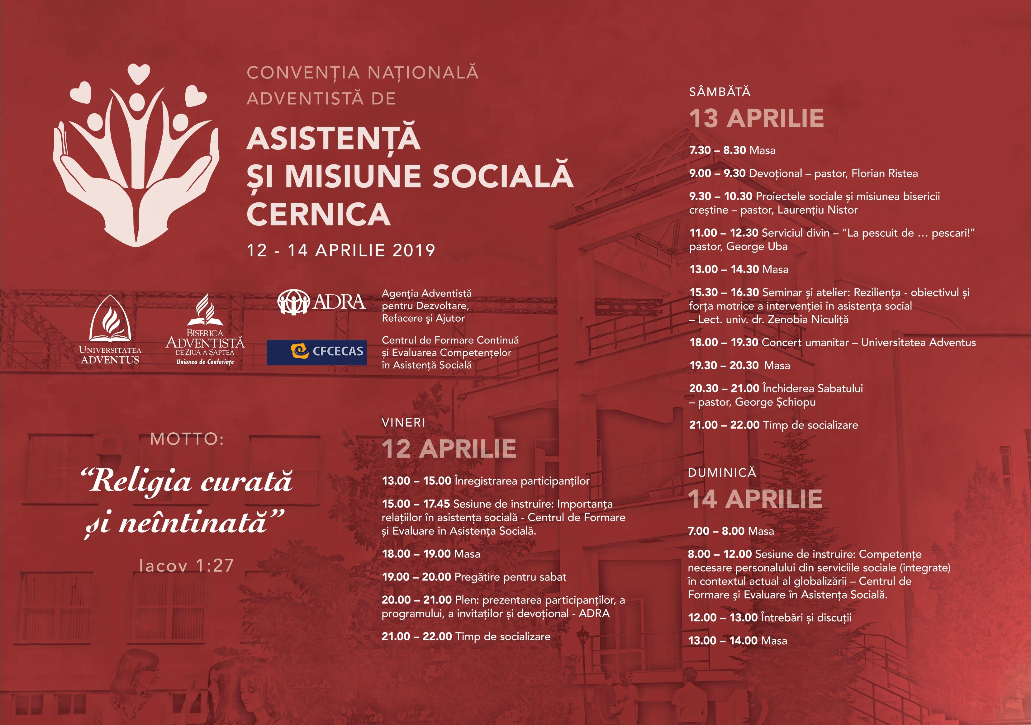 CONVENȚIA NAȚIONALĂ ADVENTISTĂ DE ASISTENȚĂ ȘI MISIUNE SOCIALĂ 12 – 14 APRILIE 2019
