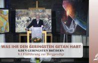 8.1 Einführung zur Bergpredigt – DEN GERINGSTEN BRÜDERN | Pastor Mag. Kurt Piesslinger