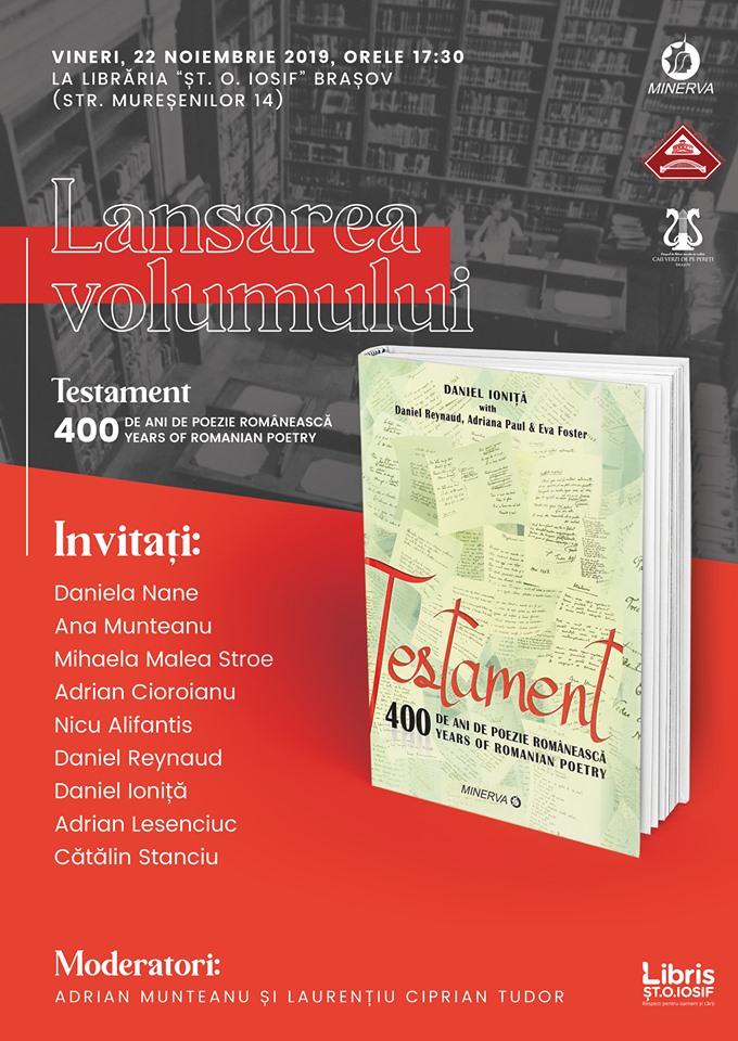 Brașov Lansare de Carte – Testament 400 de ani de poezie, găzduit de Daniel Ioniță, Nov 22 2019